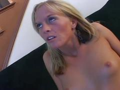 Blonde milf fucked on the couch