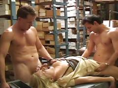 Nasty blonde slut double drilling fun in stockroom