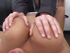 Monster tits secretary likes her pussy rammed hard