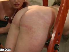 Blonde lesbian mistress torturing brunette slave