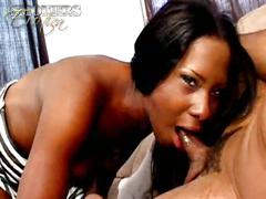 Slutty ebony whore sucking and smoking
