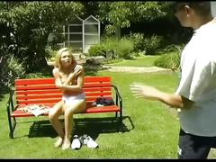 Blonde teen strips in the park blowjob hot video