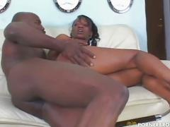 Monster black cock invades sweet ebony pussy