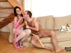 Pink pantyhose loves some jerking