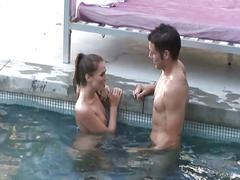 Horny bitch fucked hard by the pool