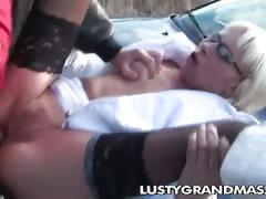 Lusty grandma, margarette loves outdoor cock