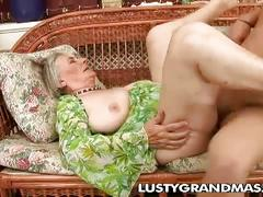 Nasty granny margot's hairy pussy for young cock