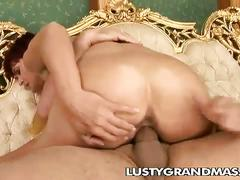 Mature redheaded kellie with hairy pussy getting satisfied