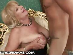 Nasty granny sally in black stockings getting drilled