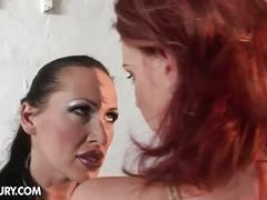Tied up redhead fucked hard by mistress