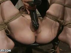 Nasty lesbian mistress torturing horny slave