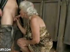 Nasty granny norma hairy pussy drilled by young hunk