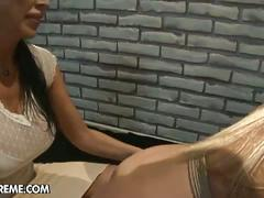 Horny brunette lesbian mistress and blonde slave