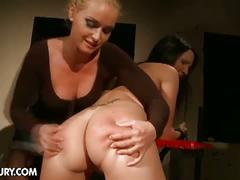 Watch this spanked and toy-fucked slave