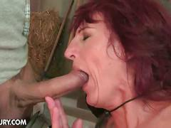 Horny hunk for cowgirl granny's hairy pussy