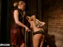 Sweet blonde slave for horny lesbian mistress