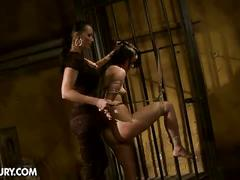 Mistress loves torturing brunette sex slave