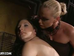 bdsm, blonde, brunette, lesbian, pornstar, toys, melyssa, bondage, huge dildo, mistress, slave, toying pussy, whip