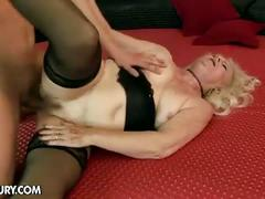 Horny blonde granny for sweet young cock