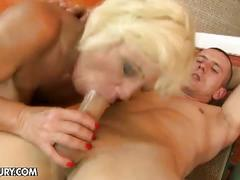 Granny orhidea's hairy pussy gets young cock