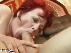 Red haired granny for young cock