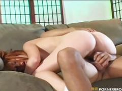 Big dick inside red head babe