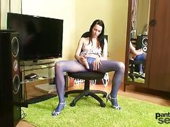 Horny brunette simona in blue pantyhose toys herself