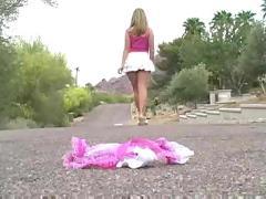 blonde, outdoor, panties, teasing, public, insertion, flashing