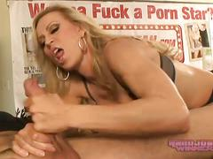 Horny busty milf gives an awesome handjob video. !