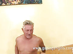 Blonde female rides mature penis