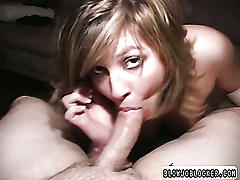 Brunette with big ass gets cock in mouth