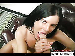 Brunette enjoys gagging on dick