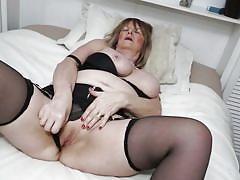 mature, high heels, solo, saggy tits, stockings, lingerie, huge tits, masturbating, bbw, mature nl, lady jane