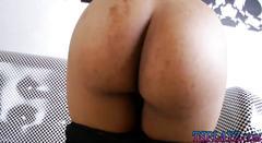 Small boobs redhead ladyboy masturbates her cock on sofa