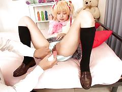 Blonde cosplay babe has a wet pussy
