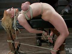 Bound so hard her tits might explode