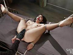 torture, hanging, vibrator, brunette babe, pussy fisting, ball gagged, rope bondage, sadistic rope, kink, milcah halili