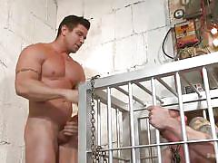 Paying a little visit to his obedient caged sex slave