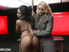Interracial lesbian affair with a huge black strapon