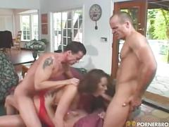 Hot brunette milf babe gets two cocks