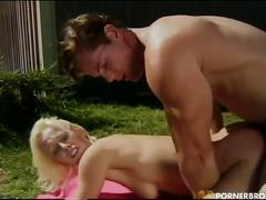 Horny blonde babe drilled outdoors