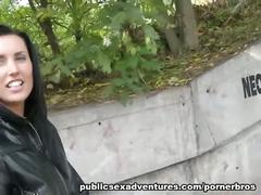 Czech brunette rammed on the park