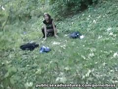 Horny slut sucks and fucks outdoor