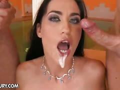 Horny brunette gets double cock fuck