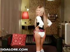 Cute blonde school girl solo pussy and ass toying