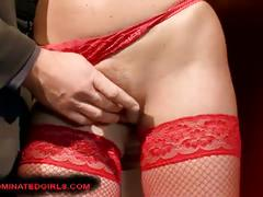 Horny readheaded in red, tied, tortured and fucked