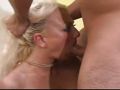 Blonde babe sucks and fucks big cock