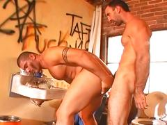 Spunk loving body building musled grease daddies ass pounding