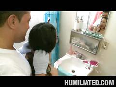 Sexy brunette teen gets humiliated and fucked in bathroom