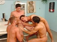 Spunk eating horny studs filthy orgy fucking in hot clinic